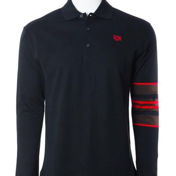 Givenchy Men's Black W/ Red Accent Sleeve Polo Shirt