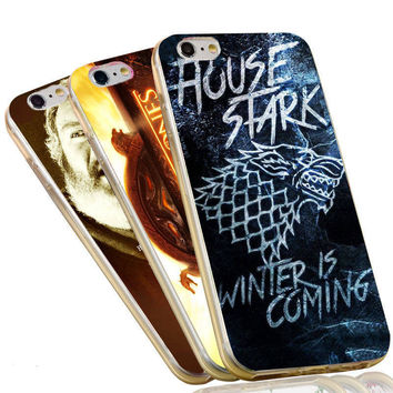 Jon Snow House Stark Wolf Valar The Game of Thrones Case For iPhone 4 4S 5C 5 5S SE 6 6S 7 Plus Soft TPU Phone Cover