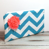 Bridesmaid Clutch - Chevron - Shabby Rose Flower - Zippered Bag - Cosmetic Bag - Bridesmaid Gift - Purse Accessory - Bridal Clutch Bag