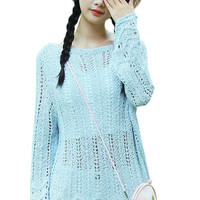 Cutout Detail Trumpet Sleeve Knit Sweater