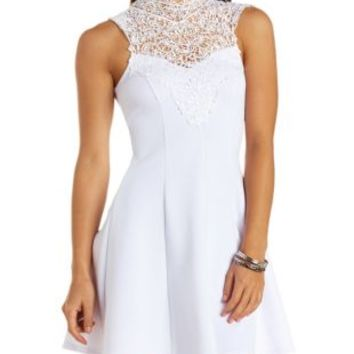 Crochet Lace Mock Neck Skater Dress by Charlotte Russe - White