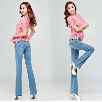 Free Shipping High Quality Promotion Summer Thin Women's Slim Mid Waist Boot Cut Jeans
