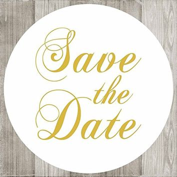 Save the Date Sticker Labels - Gold Wedding Engagement Card Invitation Envelope Seals - Set of 50