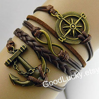 Couple bracelets leather,anchor bracelets,infinity bracelet,compass bracelet,brown leather bracelet,hipsters jewelry,charm,Personalized