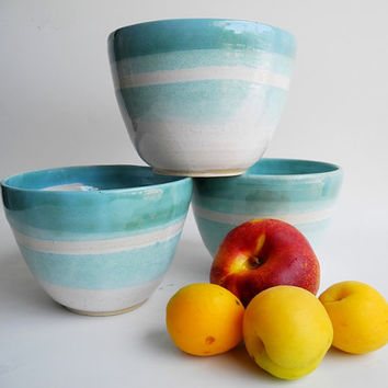 Pottery Bowl  Handmade Ceramics in Turquoise and White