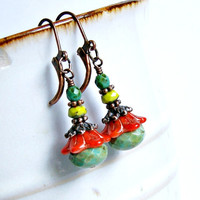 gypsy flowers rustic copper beaded lever back earrings, colorful, floral, czech glass earrings,