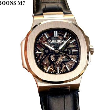 Men's Luxury Skeleton Face Leather Band Mechanical Watch