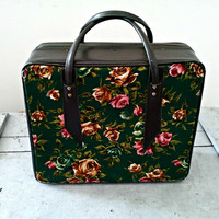 Vintage Mid Century Carry-On Bag - Shabby Chic for Display or Adventures - Green and Floral Suitcase