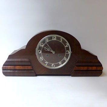 ON SALE Vintage deco German Juba walnut Westminster chime mantle clock