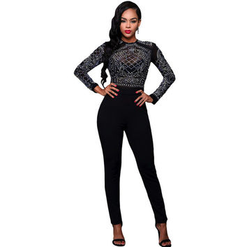 .Rhinestone Mesh Bodice Formfitting Rompers Long Pants