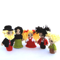 Orange Green family puppets, crocheted father, mother and three children: two boy and a girl, family portrait, amigurumi little human dolls
