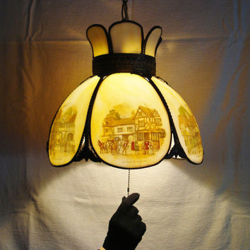 Vintage Slag Glass Lighting Fixture, Swag Glass Lamp Shade, Victorian Style Glass Light Fixture