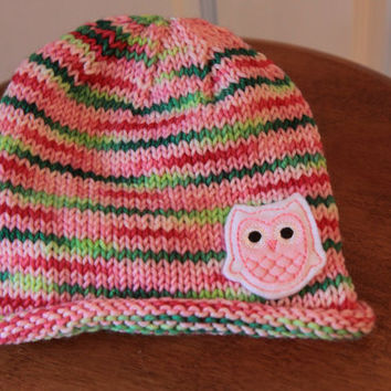 Pink and Green Baby Hat / Owl Baby Hat / 6-12 Months / Ready to Ship!