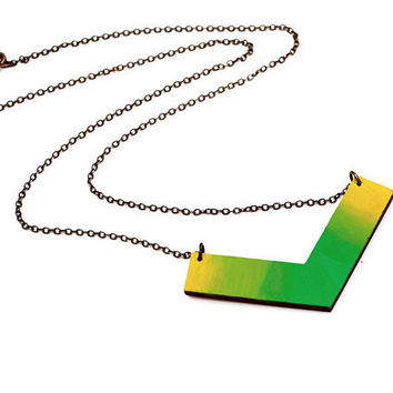 Geometric, chevron wooden necklace - green, lime and yellow ombre - minimalist, modern jewelry