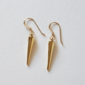 Gold Dagger Spear Earrings, 24k gold Dagger Earrings,Spear Earrings,stick earrings,gold bar earrings,needle earrings,gold spike earrings