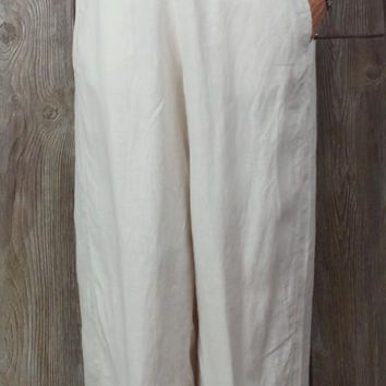 Nice J Jill Love Linen Capris 2x size Light Ivory Cream Womens Stretch Waist Plus