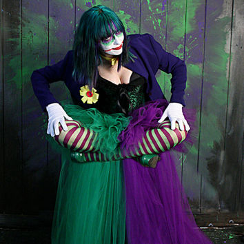 The Joker Adult tutu skirt Cosplay two tone formal bustle trail bridal dance costume purple green -- You Choose Size -- Sisters of the Moon