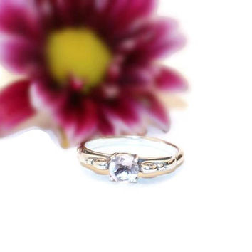 1/2 Carat Rose Quartz Ring, Engagement Ring, Sterling Silver Ring With Genuine Rose Quartz Gemstone