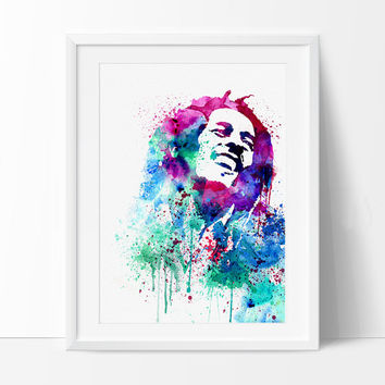 Bob Marley Watercolour Painting,Bob Marley Art, Wall Art Poster, Bob Marley Decor, Art Print, For Gift,Celebrity Portraits  - 25