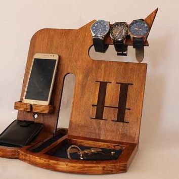 Personalized mens wood docking stations, desk organizer ideas gift for him phone stand, personalized mens watch docking