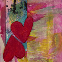 Valentines Day Printable Art Red Hearts Pink Yellow Design