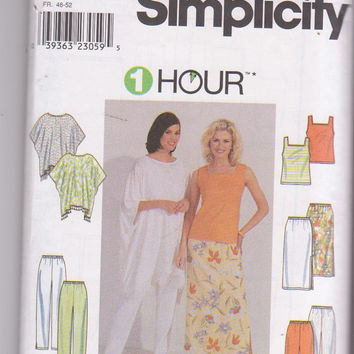 5 pc 1 Hour summer wardrobe pattern for pants, capris, skirt, knit sleeveless top, poncho misses size L XL 18-24 Simplicity 8757 UNCUT