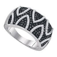 Black Diamond Fashion Ring in 10k White Gold 0.65 ctw