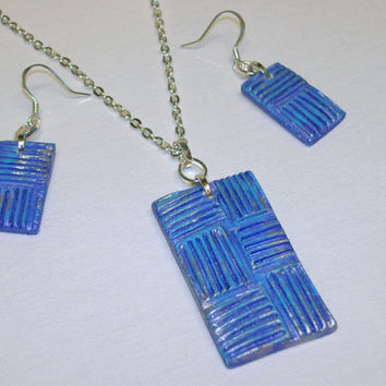 Shades of Blue Modern Design Personal Oil Diffuser Jewelry Set Necklace and Earrings OOAK Handmade Aroma Therapy Pendant Matching Earrings