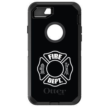 DistinctInk™ OtterBox Defender Series Case for Apple iPhone or Samsung Galaxy - White Fire Department