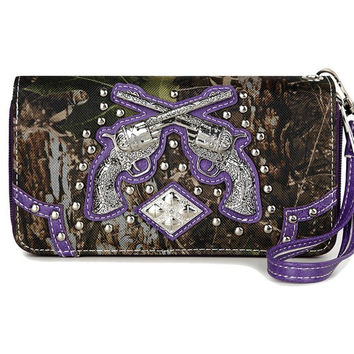 * Western Cowgirl Camouflage Gun Accented Double Zipper Stud Wallet In Purple
