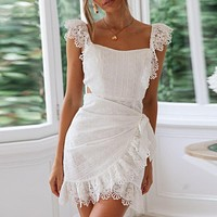 Lace Backless Women Sexy Elegant Bodycon Party Dress Embroidery Hollow out Short Mini Dress