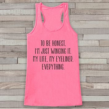 Winging Life Pink Tank Top - Friends Gift Idea - Womens Shirt - Gift for Her - Gift for New Mom - Funny Novelty Tank Top Gift Idea