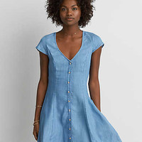 AEO Chambray Fit & Flare Dress, Medium Wash