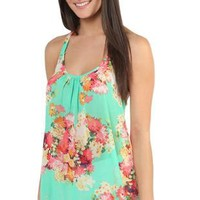 slider back tank top in bright floral print - debshops.com