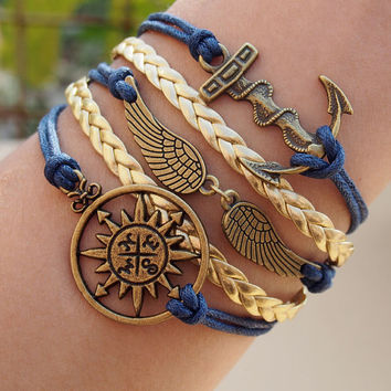 Anchor, angel wings and compass Charm Bracelet, Bronze Color, Royal Blue wax cord and Gold braid leather, Personalized Jewelry for Him her