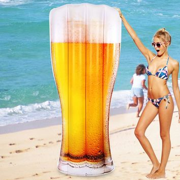 180cm 70inch Giant Inflatable Beer Cup Print Pool Float Air Lounge Bottle Lounger Floatie Raft for Children Adults Swimming Ring