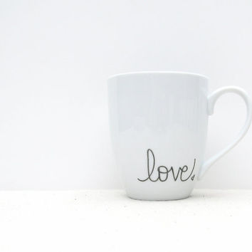 "Coffee Mug - ""love"" with small heart on White Mug - Black and White Coffee Cup"