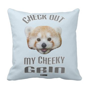 Cheeky Grin Design by Kat Worth Throw Pillow