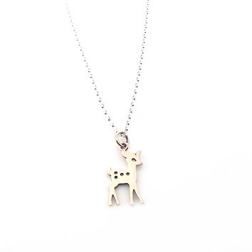 Fawn Charm Necklace- Sterling Silver Jewelry