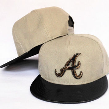 Atlanta Braves Creme Snapback with Gold Pendant and Leather Brim