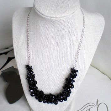 Black Statement Necklace Glass Black Faceted Beads Black Crocheted Statement Necklace Wedding Jewelry Bridesmaid Jewelry