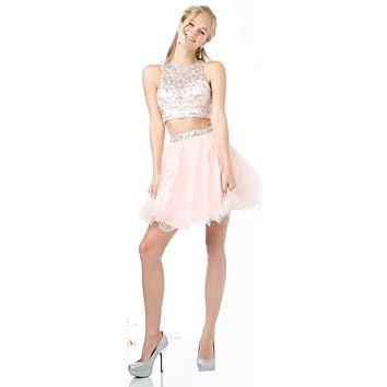 Cinderella Divine 975 Two Piece Illusion Beaded Crop Top Blush Tulle Homecoming Dress