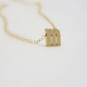 Tiny Initial Necklace - Gold Initial Necklace- Letter Necklace -Minimalist Layering Necklace - Lowerscase Initial- Personalized Letter Charm