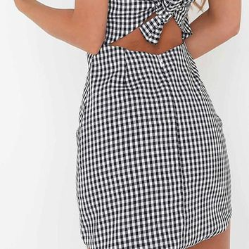 Black-White Plaid Bowknot Backless Spaghetti Strap Square Neck Cute Mini Dress