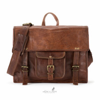Handmade Moroccan goat Leather Backpack Satchel - Horizontal