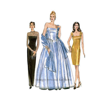 1990s EVENING GOWN COCKTAIL Dress Pattern and Stole Fit & Flare Sexy Ball Gown Vogue 9397 Bust 31.5 32.5 34 UnCUT Women's Sewing Patterns