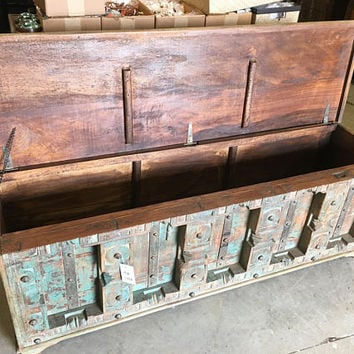 Vintage Trunk Blue Distressed Natural Wood Bench Table Block chest Olddoors Rustic FARMHOUSE Bohemian Interior FREE SHIP