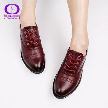 Fashion Women Spring Autumn Flat Oxford Shoes British Style Vintage Shoes