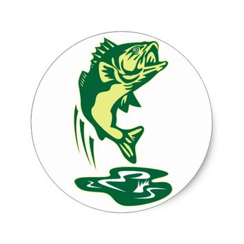 Largemouth Bass fish jumping Classic Round Sticker