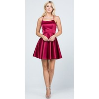 Short Fit and Flare Wine Dress Spaghetti Straps Criss Cross Back